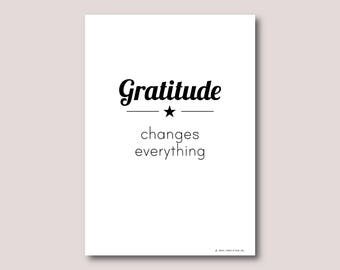 A4 print, Inspirational quote, Inspirational wall art, Motivational quote, Quote art, Quote print • Gratitude changes everything
