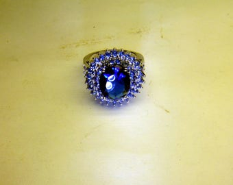 women's Blue Sapphire Aquamarine ring. new. 925 silver. size 7.