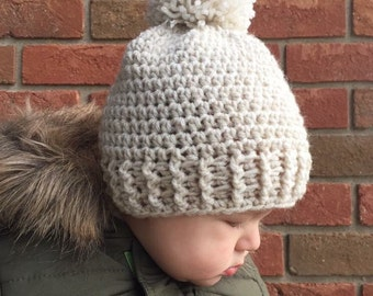 Crochet Baby Ribbed Hat with PomPom