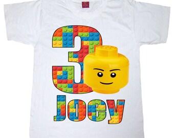 lego  birthday shirt lego head