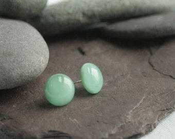 Aqua green glass stud earrings.
