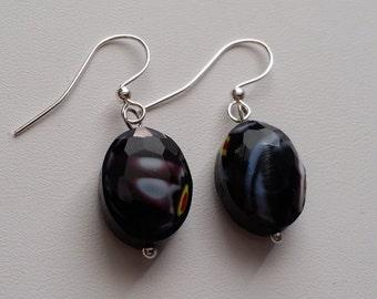 Black Glass Faceted Earrings  (E14-202)