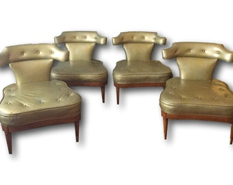 Pair Of Mastercraft Slipper Chairs   Leather   Gold   Walnut   Vintage   Four Available