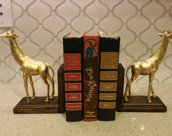 Gold Colored Giraffe Bookends
