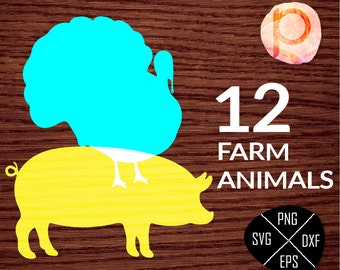 Farm Animal svg Bundle*Farm Animals clipart*Farm Animals silhouette*clipart,eps,dxf,png,jpg*Cutting Files*Cricut*Silhouette*Sure Cuts