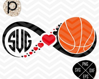 Basketball heart svg*Basketball Mom*Basketball Infinity*Basketball Monogram Frame*svg,clipart,dxf,png*Cutting File*Cricut*Silhouette*SureCut