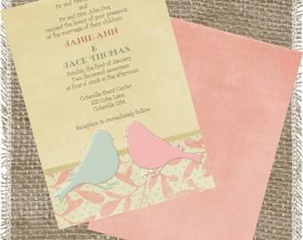 Printable Lovebirds Wedding Invitation