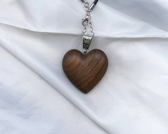 Wooden heart necklace, wooden necklace, wooden jewellery, gift for her, valentines, wooden heart pendant, made from Lapacho wood.