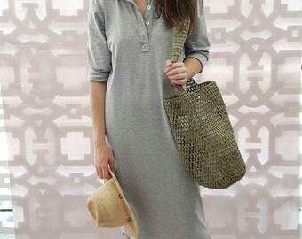 Cotton Knit Polo Dress