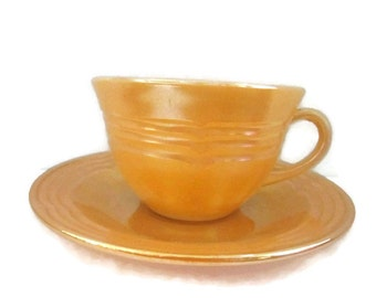 Lusterware Fire King set of Four Teacups and Saucers