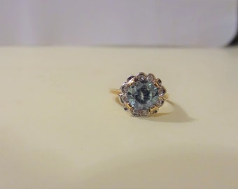 Vintage 14k Blue Zircon and Diamond Halo Ring-1950's