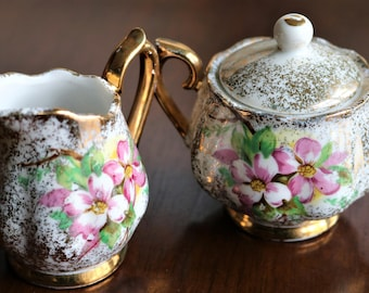 Vintage Ucagco Miniature Cream and Sugar Set - Pink and Gold