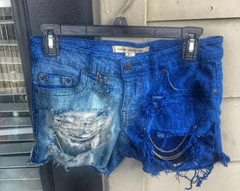 Blue Distressed Bleached Denim Shorts with Chains