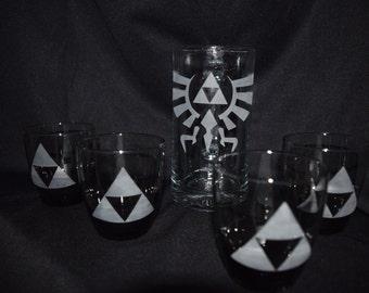 Legend of Zelda Inspired Etched glasses