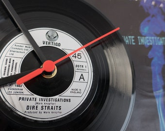 """Dire Straits - 'Private Investigations' 7"""" Record Clock"""
