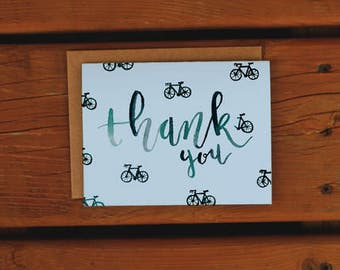 Handpainted Bicycle Thank You Card | Watercolor | Thanks | Blank | Just Because | Teal | Baby Blue | Bike Card
