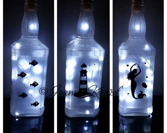 Lighthouse  Glass Bottle Lights by Joanne Krapf