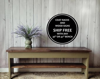 "42"" Farmhouse Bench - Storage, Shoe Shelf, Rustic, Distressed, Wood, Country, Farmhouse Decor, Mudroom, Bedroom, Hand Painted, Stained"