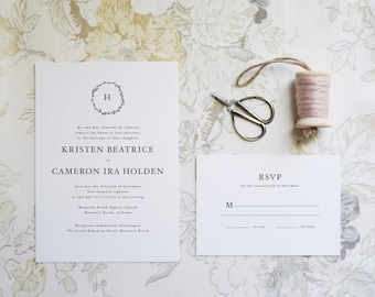 The Kristen Suite  //  Classic Typography Wedding Invitation with Laurel and Monogram