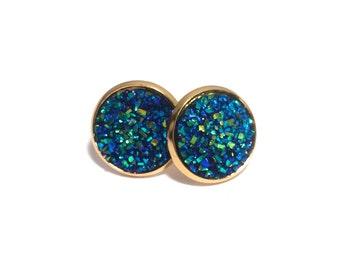 Blue Faux Druzy Drusy Stud Earrings in Gold Setting