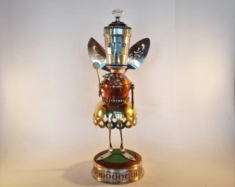 Steampunk Fairy Robot Sculpture - Found object Art - Vintage Kitchen - Repurposed Art - junk bot - Magic - Guardian Angel