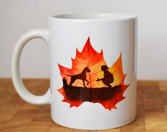 Autumn Leaf Mug, Personalised, Dog Lover Leaf Mug
