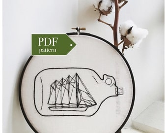 Ship in a Bottle PDF Embroidery Pattern