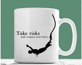 Bungee Jumping Gifts, Take Risks And Conquer Your Fears, Bungee Jumping Mug, Bungee Jumping Coffee Mug, Bungee Mug, Bungee Jumping Lovers