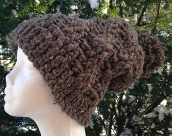 Slouchy Hat, Bulky Hat, Brown Hat, Pom Pom Hat, Warm Hat, winter hat