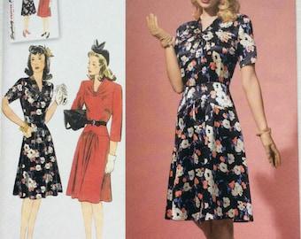 1940s Retro Simplicity Dress Pattern 1587, Misses 14, 16, 18, 20, 22