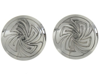 Native American Silver Cuff Links Whirlwind Concho Pattern