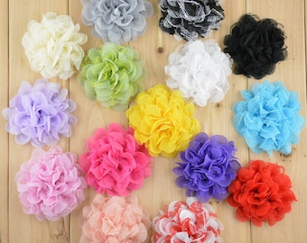 5 pcs Chiffon and lace flower, large flower, ivory flower, lace flower, flower puff, flower supplies, DIY supplies