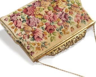 N. B. M. made in Austria · Temple bag · Petit point Loupe embroidery · Rose decor