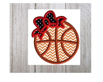 Basketball Embroidery Design, Basketball Applique with Bow, Machine Embroidery Design, Basketball Applique, 3 Sizes, No Fonts Included