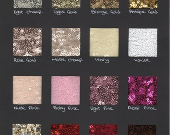 Sequin fabric samples / swatches for color confirmation on your piece, and to feel our high quality micro-sequin fabric.