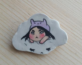 Bunny cloud demon brooch pin