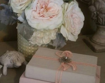 Antique decorative books set, Grey pink