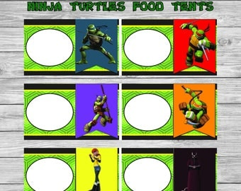 Teenage Mutant Ninja Turtles Food Tents - Green Chalkboard - Ninja Turtles Food Labels - Ninja Turtles Party - Ninja Turtles Party Printable