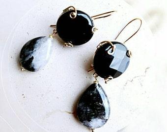 Beaded earrings, gift for her, beaded jewelry gift for girlfriend, birthday gift for mom, onyx earrings, gold earrings, jewelry for wife