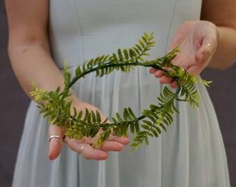 Greenery crown, flower crown wedding, greenery wedding crown, fern crown, flower crown adult