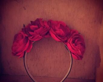 Ruby Red Flower Crown