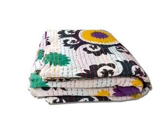White Design King Size Kantha Quilt