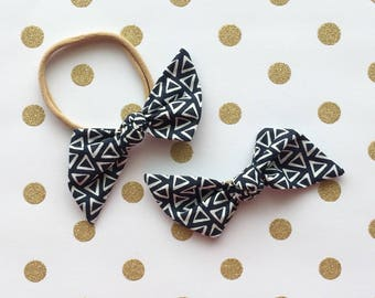 "Navy Blue Triangle ""Bailee"" Hair Bow"