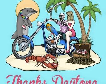 Thanks Daytona Biker Digital Art Print