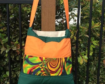 Funky Market Bag in green and orange