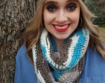 Textured infinity scarf, circle scarf, long infinity scarf
