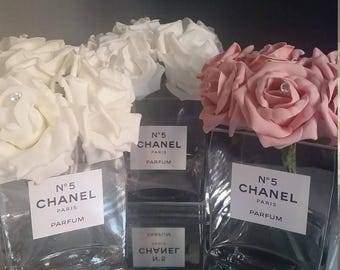 Designer Inspired Vase With Artificial Roses & Diamantes - Crystals not included