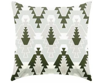 green pillow - dark green pillow - green and white pillow - pillow cover only - cushion cover -ZIPPER CLOSURE