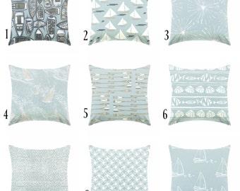 blue pillow powder blue pillow - coastal pillow - pillow cover only - cushion cover -ZIPPER CLOSURE