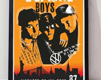 Beastie Boys reimagined drawn unframed gig poster. Specially created.